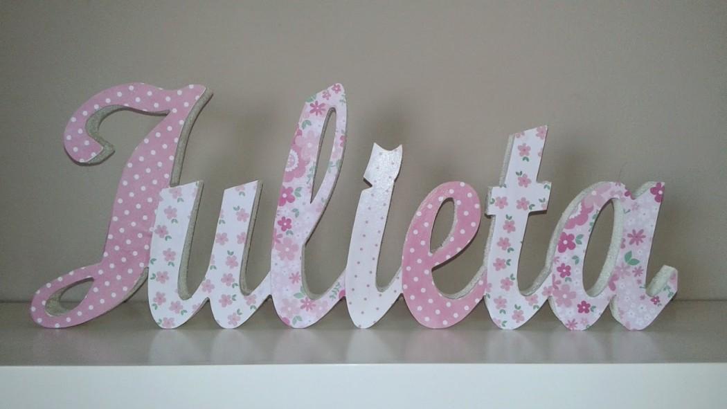Letras infantiles decoradas con papel scrap para apoyar - Letras decorativas para habitaciones infantiles ...